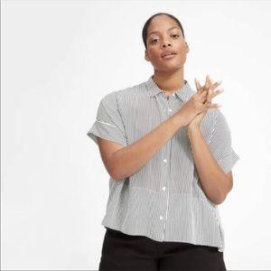 Everlane Silk Striped Square Shirt sz 2 Oversized